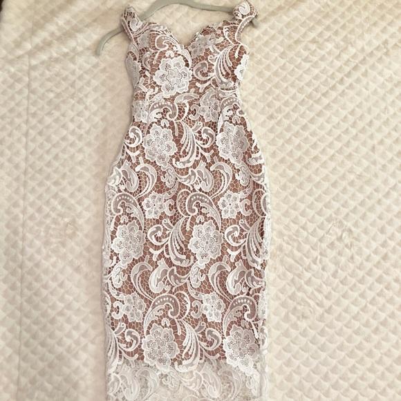 23ca81f6545 NWT Missguided White Nude Lace Bardot Midi Dress